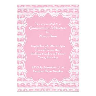 Carros en colores pastel rosados Quinceanera Invitación 12,7 X 17,8 Cm