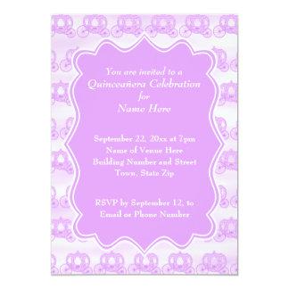 Carros púrpuras en colores pastel Quinceanera Invitación 12,7 X 17,8 Cm