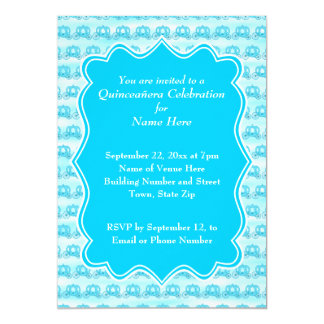 Carros Quinceanera de las azules turquesas Invitación 12,7 X 17,8 Cm