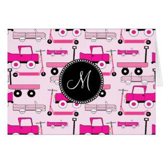 Carros rosados de las vespas de los camiones de tarjeta