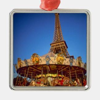 Carrusel, torre Eiffel, París, Francia Adorno Cuadrado Plateado