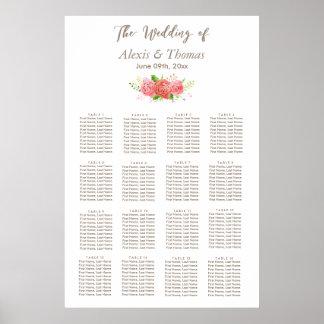 Carta coralina del asiento del boda de la póster