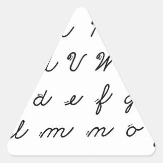 carta cursiva de la escritura pegatina triangular