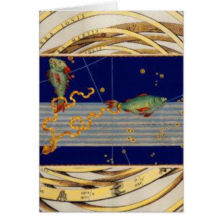 Carta de estrella de Piscis del vintage Tarjeta De Felicitación