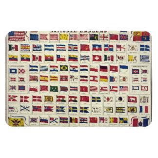 Carta de las banderas nacionales del vintage - imán