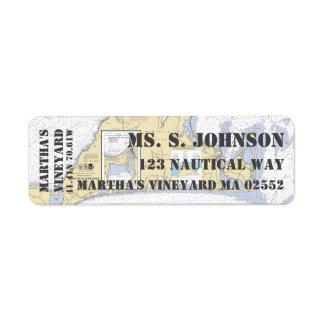 Carta de navegación náutica del Martha's Vineyard Etiqueta De Remitente