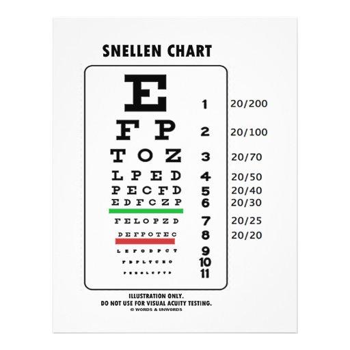 Carta de Snellen (prueba médica de la agudeza visu Folleto 21,6 X 28 Cm