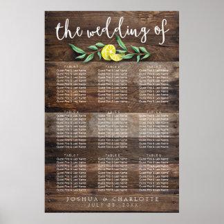 CARTA del ASIENTO boda de madera el pipe% rústico Póster