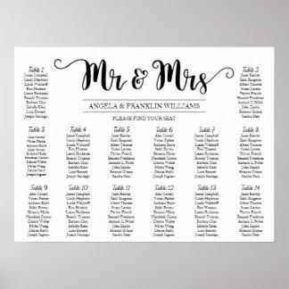 Carta del asiento del boda, color de fondo póster