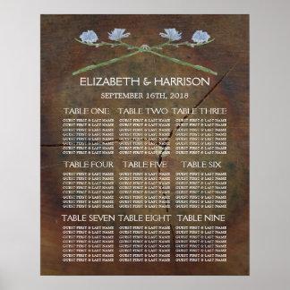 Carta del asiento del boda de madera de roble del póster