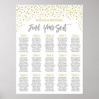 Carta del asiento del boda del confeti, color póster