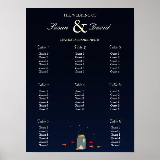 Carta del asiento del boda del roble del tarro de  posters