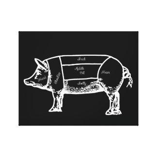 carta del cerdo lienzo