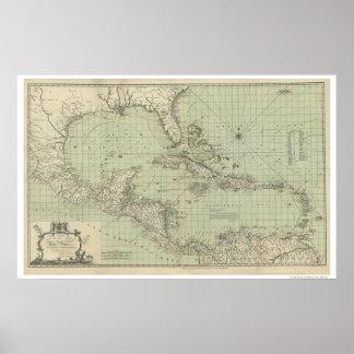 Carta del mapa de las Antillas - 1774 Póster
