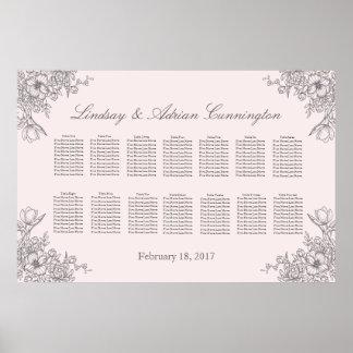 Carta floral del asiento del boda de la elegancia póster