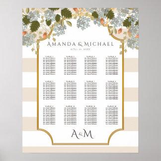 Carta floral del asiento del boda de la póster