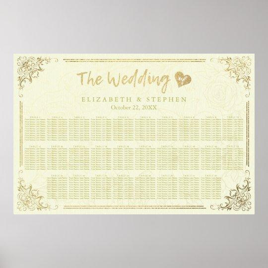 Carta floral del asiento del boda del marco de la póster
