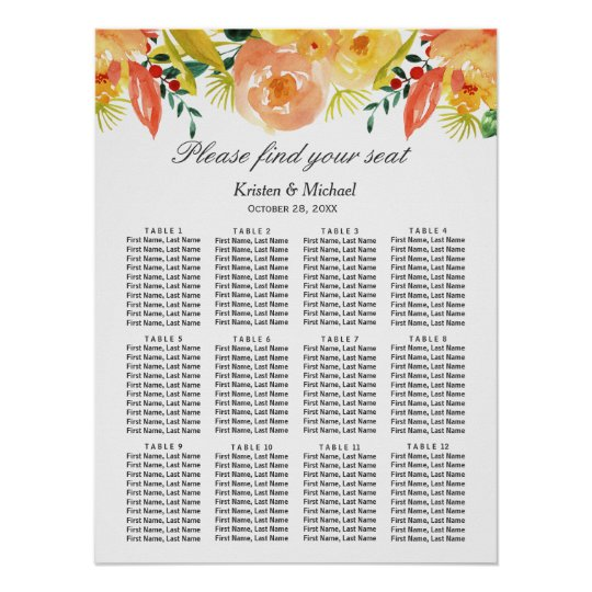 Carta floral del asiento del boda del melocotón de póster