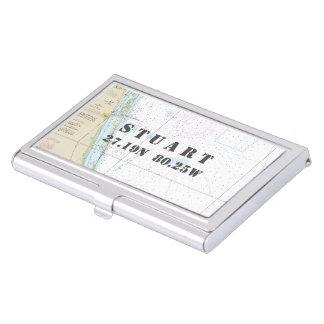 Carta náutica de la longitud de la latitud de caja de tarjetas de negocios
