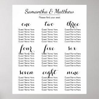 Carta que asienta simple y elegante del boda el | póster