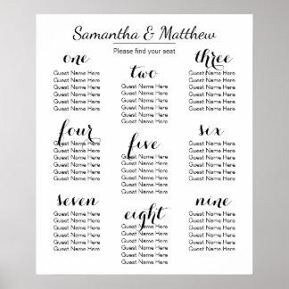 Carta que asienta simple y elegante del boda póster