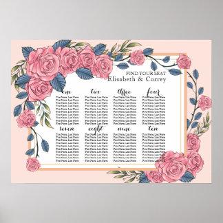 Carta real del asiento del boda de los rosas del póster