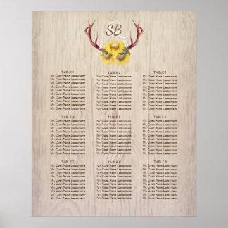 Carta rústica del asiento del boda de las astas de póster