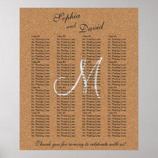 Carta rústica del asiento del monograma del boda póster