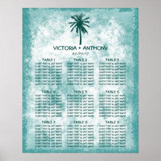 Carta tropical del asiento del boda de playa de la póster