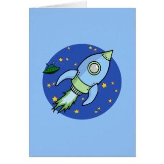 Carta verde azul de Rocket Felicitaciones