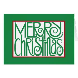 Carta verde de las Felices Navidad Felicitacion