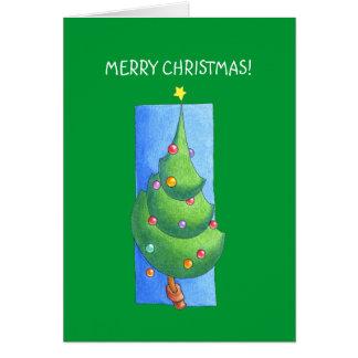 Carta verde del árbol de navidad tarjeta
