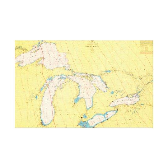 Carta y mapa náuticos de Great Lakes Lienzo