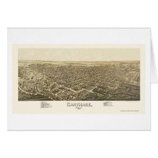 Cartago, mapa panorámico del MES - 1891 Tarjeta De Felicitación