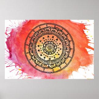 Cartel caliente de la mandala de Sun Póster