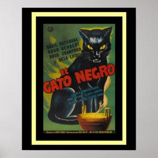 Cartel de película del negro del EL Gato (el gato Póster