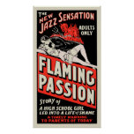 """Cartel de película del vintage - """"pasión llameante impresiones"""