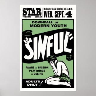 """Cartel de película """"pecador"""" del vintage póster"""