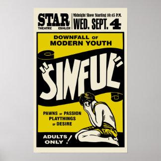 """Cartel de película """"pecador"""" del vintage impresiones"""