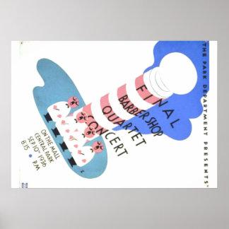 Cartel del concierto del cuarteto de la peluquería póster