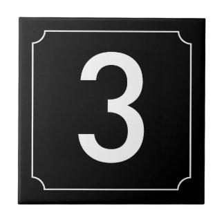 Cartel del número azulejo cuadrado pequeño