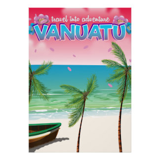 "Cartel del viaje de la aventura de Vanuatu ""viaje Póster"