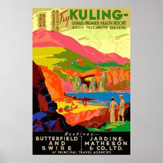 Cartel del viaje del chino del vintage de Kuling Póster