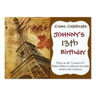 Cartel del vintage de París Invitación 12,7 X 17,8 Cm