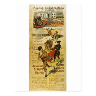 Cártel Toros Barcelona - tauromaquia Matador Tarjeta Postal
