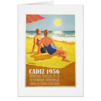 Cartel Vintage Antiguo Turismo Cadiz 1956 Tarjeta De Felicitación