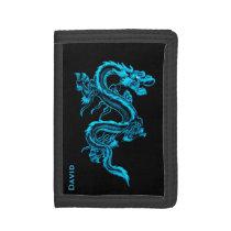 Cartera china azul del personalizado del dragón
