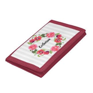 Cartera De 3 Hojas Círculo rojo y rosado de la acuarela de las flores