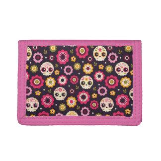 Cartera De 3 Hojas Estampado de flores mexicano del cráneo del azúcar