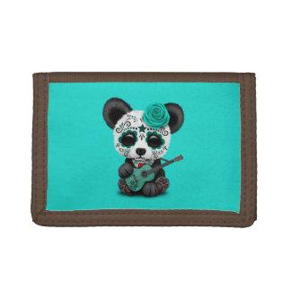Cartera De 3 Hojas Panda azul del cráneo del azúcar que toca la